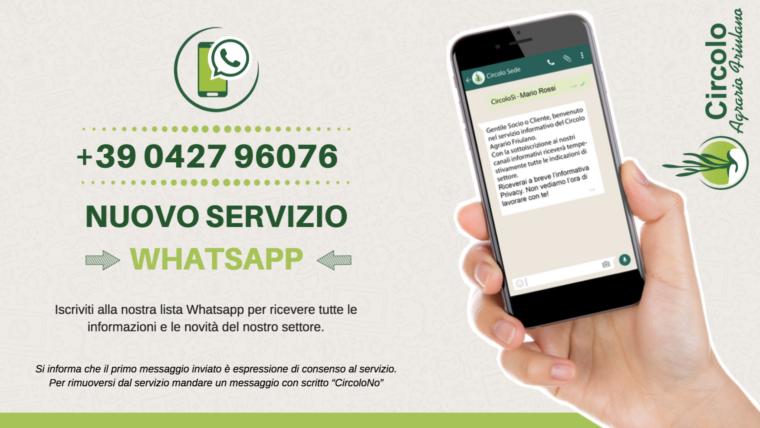 Attivo il nuovo servizio informativo via Whatsapp!